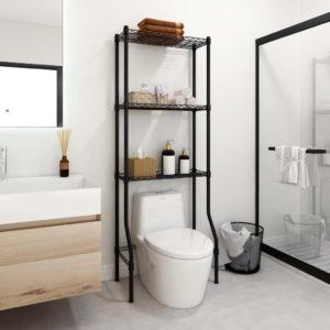 3-stufiges Toiletten-Regal Schwarz 55x30x150 cm Eisen