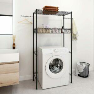Waschmaschinen-Regal mit 4 Ablagen Silbern 75x35x150 cm