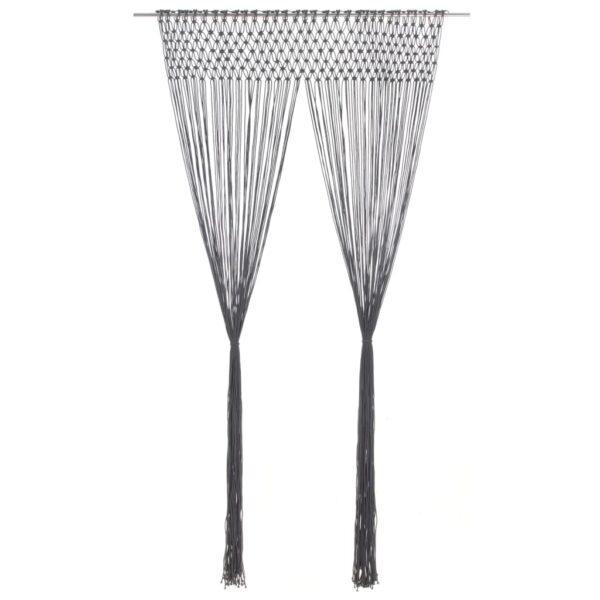 Makramee Vorhang Anthrazit 140×240 cm Baumwolle