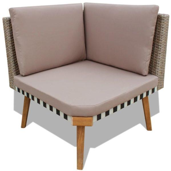 4-tlg. Garten-Lounge-Set mit Auflagen Poly Rattan Grau