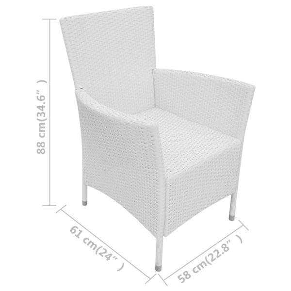 Gartenstühle 6 Stk. mit Auflagen Poly Rattan Cremeweiß