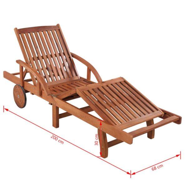 Sonnenliegen 2 Stk. mit Tisch Akazie Massivholz