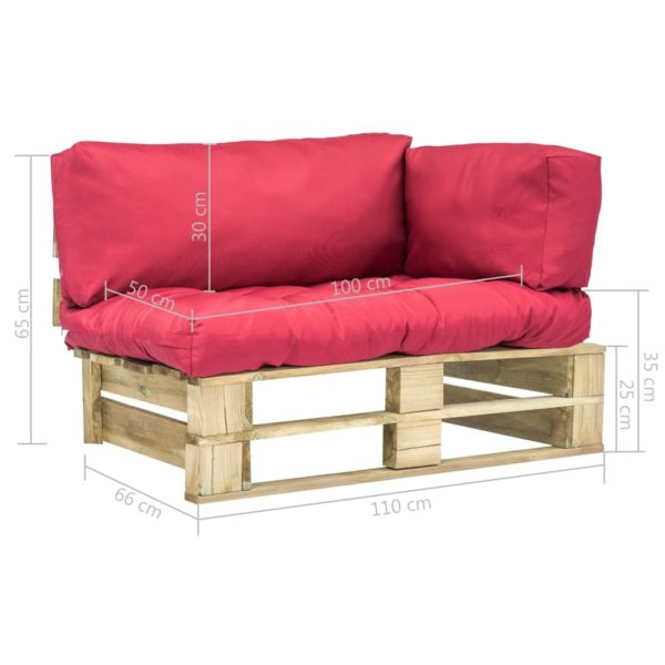 Garten-Palettensofa mit Roten Kissen Kiefernholz