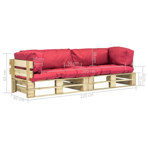 2-tlg. Garten-Palettensofa-Set mit Roten Kissen Kiefernholz