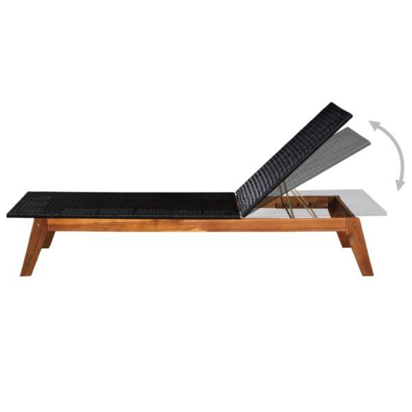 Sonnenliegen 2 Stk. mit Tisch Poly Rattan Massivholz Akazie