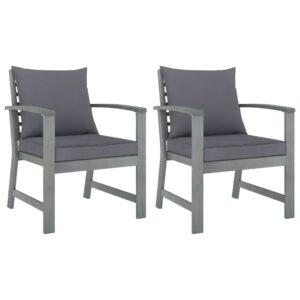 Gartenstühle 2 Stk. mit Dunkelgrauen Kissen Akazie Massivholz