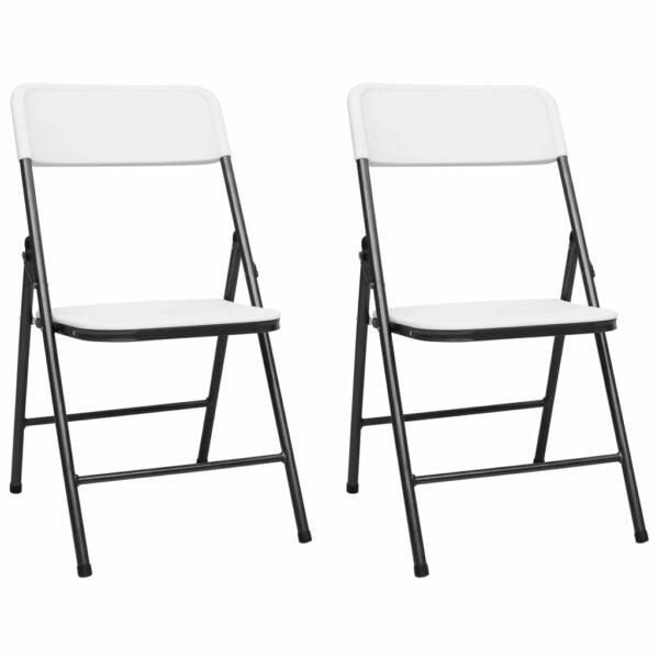 Gartenstühle Klappbar 2 Stk. HDPE Weiß