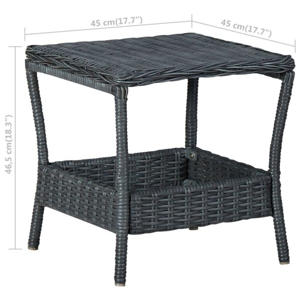 Gartentisch Dunkelgrau 45x45x46,5 cm Poly Rattan