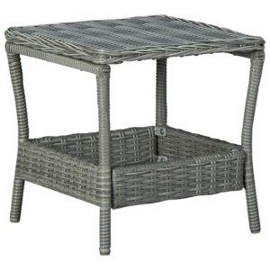 Gartentisch Hellgrau 45x45x46,5 cm Poly Rattan