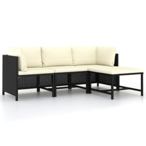 4-tlg. Garten-Sofagarnitur mit Auflagen Schwarz Poly Rattan