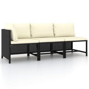 3-tlg. Garten-Sofagarnitur mit Auflagen Schwarz Poly Rattan
