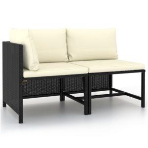 2-tlg. Garten-Sofagarnitur mit Auflagen Schwarz Poly Rattan