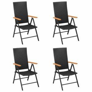 Gartenstühle 4 Stk. Poly Rattan Schwarz