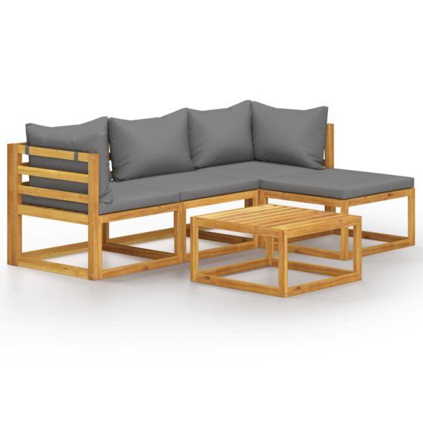 5-tlg. Garten-Lounge-Set mit Auflage Massivholz Akazie