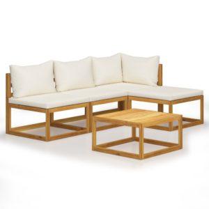 5-tlg. Garten-Lounge-Set mit Auflagen Creme Massivholz Akazie