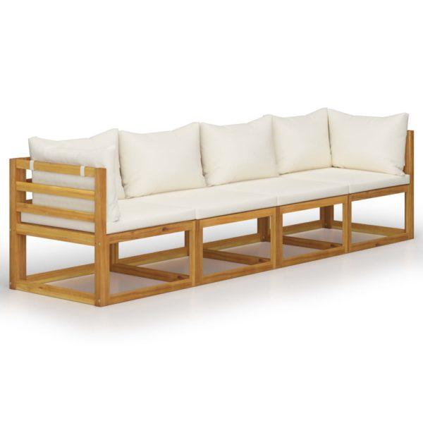 4-Sitzer-Gartensofa mit Auflagen Creme Akazie Massivholz