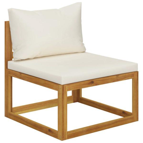 8-tlg. Garten-Lounge-Set mit Auflagen Creme Massivholz Akazie