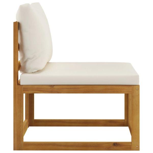 12-tlg. Garten-Lounge-Set mit Auflagen Creme Massivholz Akazie
