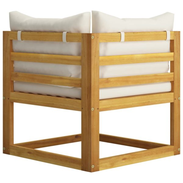 9-tlg. Garten-Lounge-Set mit Auflagen Creme Massivholz Akazie