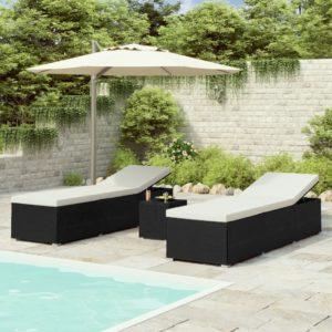 3-tlg. Garten-Sonnenliegen mit Teetisch Poly Rattan Schwarz