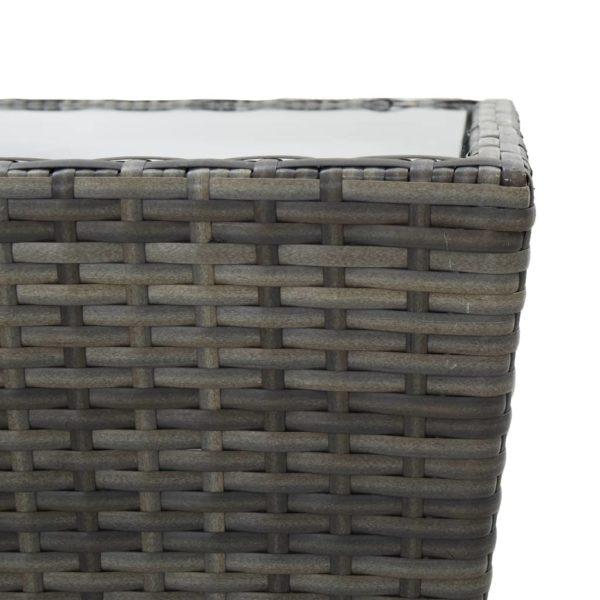 3-tlg. Bistro-Set Poly Rattan und Hartglas Grau