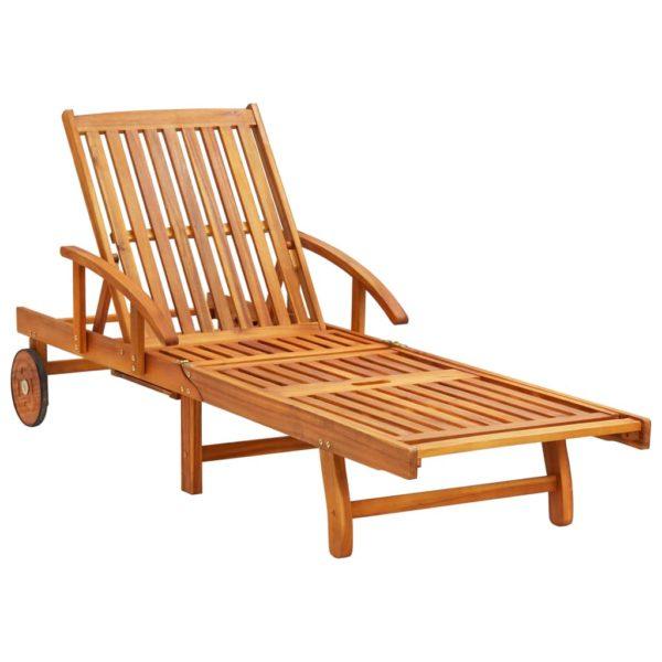 2-tlg. Sonnenliegen-Set mit Tisch Massivholz Akazie
