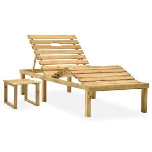 Garten-Sonnenliege mit Tisch Kiefernholz Imprägniert