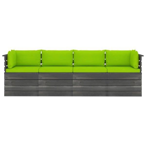 Garten-Palettensofa 4-Sitzer mit Kissen Kiefer Massivholz