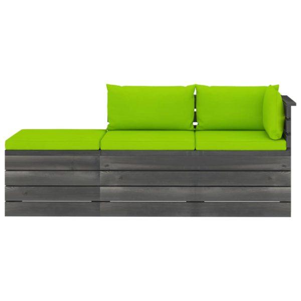 3-tlg. Garten-Sofagarnitur aus Paletten mit Kissen Kiefernholz