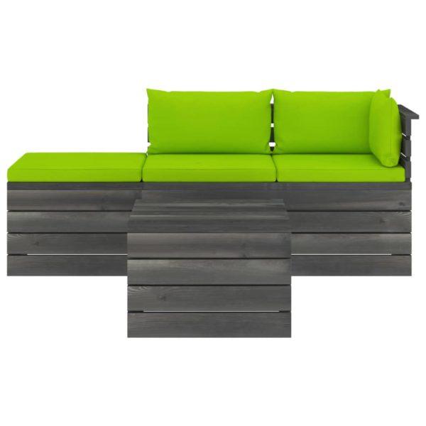 4-tlg. Garten-Sofagarnitur aus Paletten mit Kissen Kiefernholz