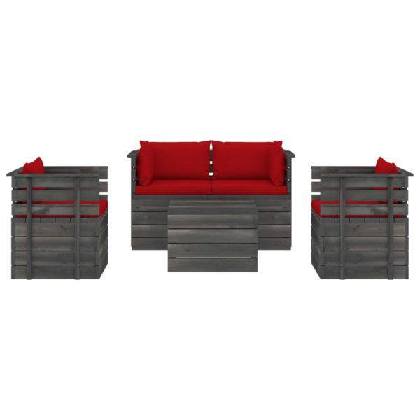 5-tlg. Garten-Sofagarnitur aus Paletten mit Kissen Kiefernholz