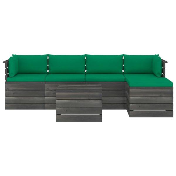 6-tlg. Garten-Sofagarnitur aus Paletten mit Kissen Kiefernholz