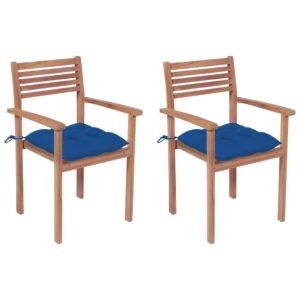Gartenstühle 2 Stk. mit Hellblauen Kissen Massivholz Teak