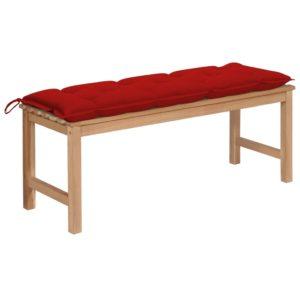 Gartenbank mit Roter Auflage 120 cm Massivholz Teak