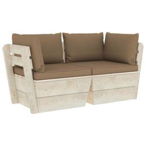 Garten-Palettensofa 2-Sitzer mit Kissen Fichtenholz