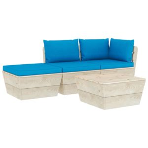 4-tlg. Garten-Sofagarnitur aus Paletten mit Kissen Fichtenholz