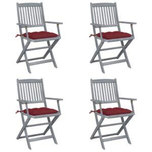 Klappbare Gartenstühle 4 Stk. mit Kissen Massivholz Akazie