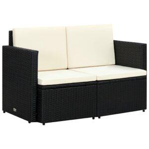 2-Sitzer-Gartensofa mit Auflagen Schwarz Poly Rattan