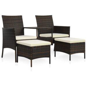 2-Sitzer-Gartensofa mit Tisch & Hocker Poly Rattan Braun