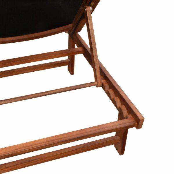 Sonnenliegen 2 Stk. mit Tisch Akazie Massivholz und Textilene