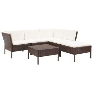 6-tlg. Garten-Lounge-Set mit Auflagen Poly Rattan Braun