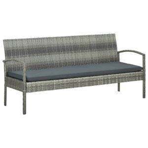 Gartensofa 3-Sitzer mit Kissen Grau Poly Rattan