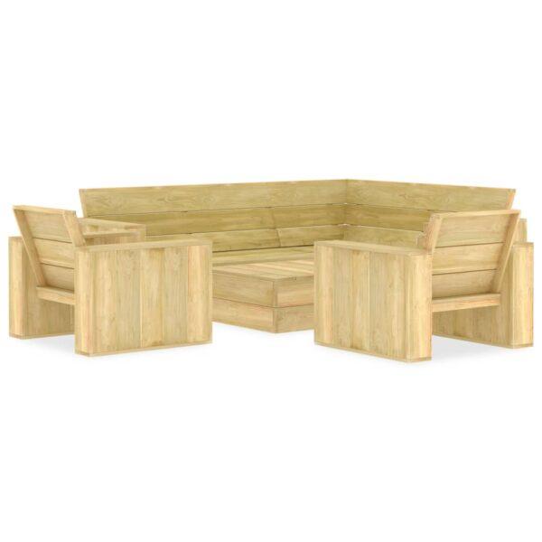 4-tlg. Garten-Lounge-Set Kiefernholz Imprägniert
