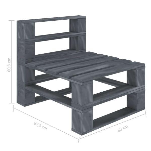 Garten-Paletten-Mittelsofa mit schwarzem Kissen Holz