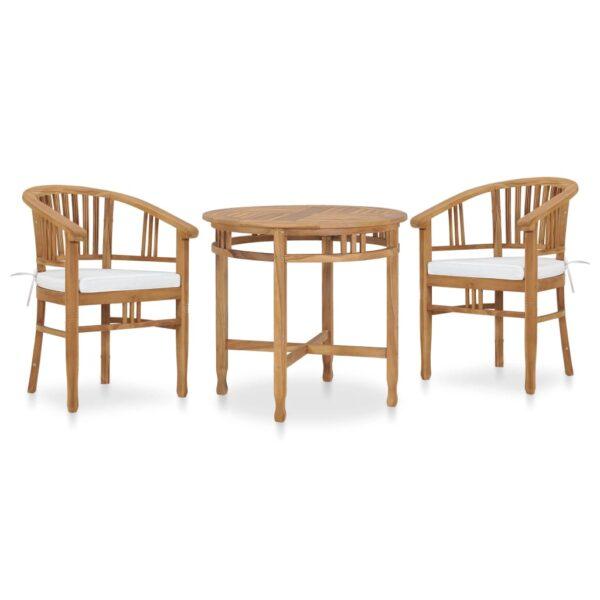 3-tlg. Garten-Essgruppe mit Sitzpolstern Teak Massivholz