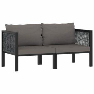 2-Sitzer-Sofa mit Auflage Anthrazit Poly Rattan
