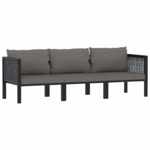 3-Sitzer-Sofa mit Auflage Anthrazit Poly Rattan