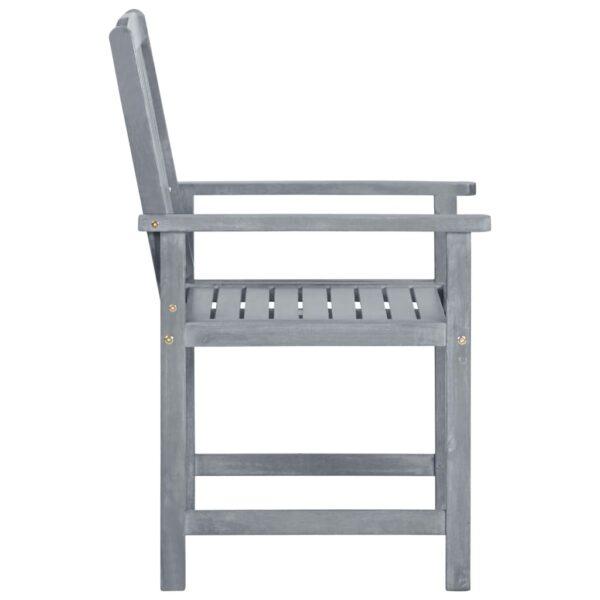 Regiestühle mit Kissen 4 Stk. Grau Massivholz Akazie