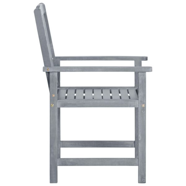 Regiestühle mit Kissen 2 Stk. Grau Massivholz Akazie