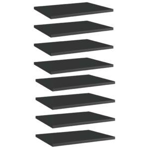 Bücherregal-Bretter 8 Stk. Hochglanz-Schwarz 40x30x1,5 cm